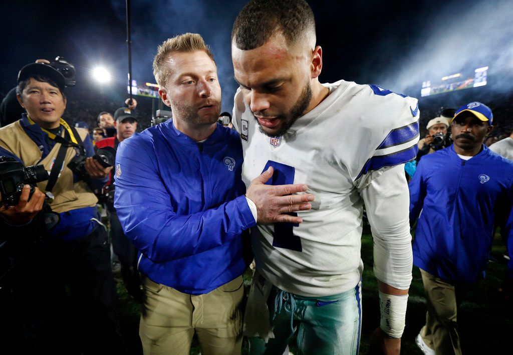 Dallas Cowboys quarterback Dak Prescott (4) is comforted by Los Angeles Rams head coach Sean McVay after their NFC Divisional Playoff loss at Los Angeles Memorial Coliseum in Los Angeles, Saturday, January 12, 2019. Tye Cowboys lost 30-22. (Tom Fox/The Dallas Morning News)
