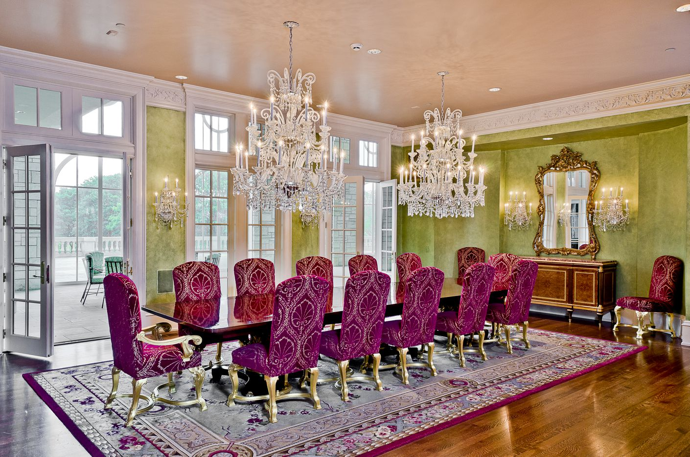 The dining room in the Champ D'Or mansion.