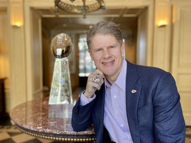 Clark Hunt wears his 2020 Super Bowl ring at his home in Highland Park.