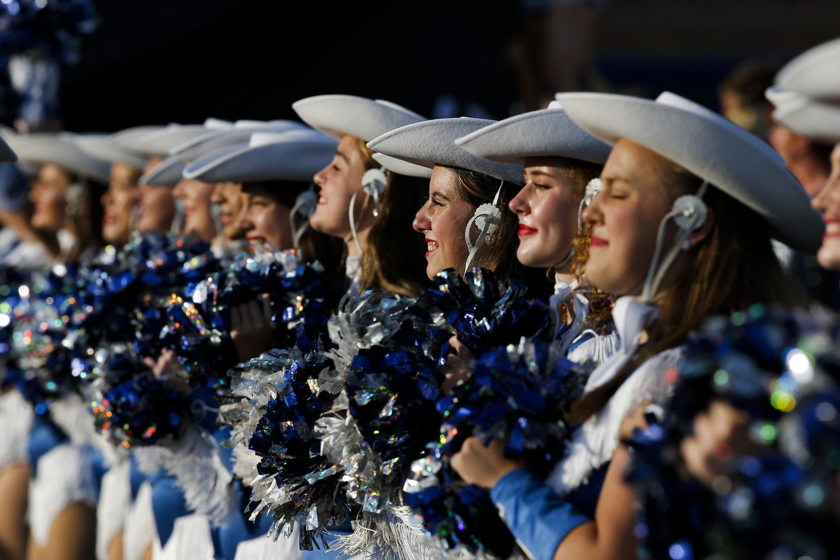Flower Mound's Rosettes perform before the first half of a high school football game against Mesquite at Flower Mound High School, Friday, August 27, 2021. (Brandon Wade/Special Contributor)