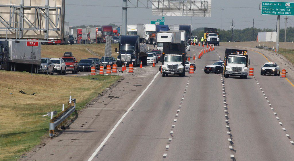 The eastbound lanes on I-20 were closed after a Dallas police officer on a motorcycle was killed Saturday in a crash with an SUV on Interstate 20. The crash about 6 a.m. closed all eastbound lanes on the interstate, near Bonnie View Road, KXAS-TV (NBC5) reported.