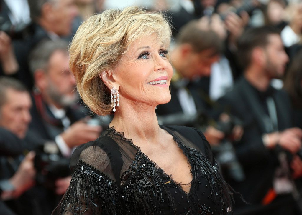In this May 13, 2018 file photo, actress Jane Fonda poses for photographers upon arrival at the premiere of the film Sink or Swim at the 71st international film festival, Cannes, southern France.
