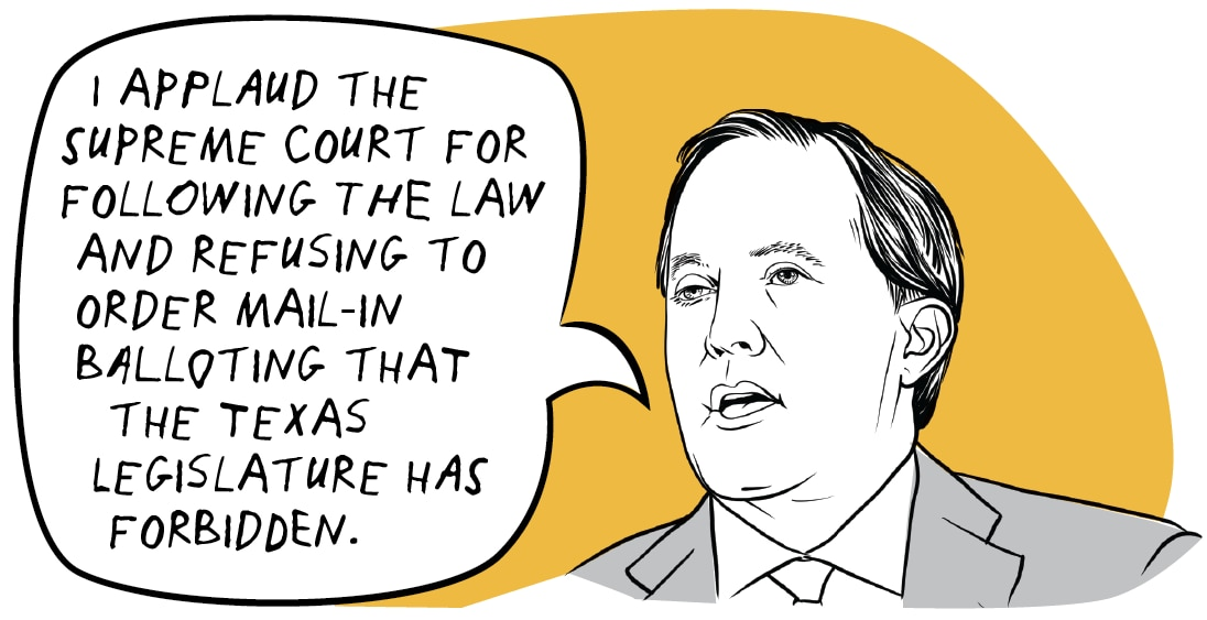 Ken Paxton used the voting-by-mail option to cast a ballot in a 2011 municipal election, according to county records. SOURCE: Texas Tribune