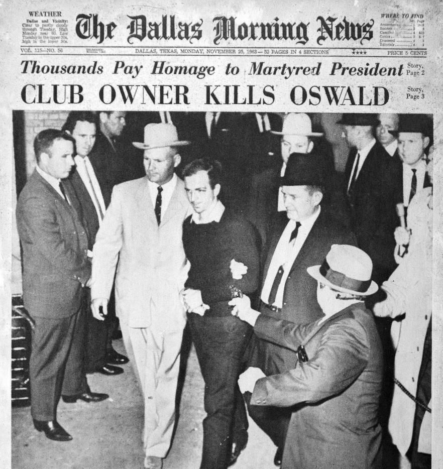 The Nov. 25, 1963, edition of The Dallas Morning News featured this photo by Jack Beers of Jack Ruby approaching Lee Harvey Oswald, who was escorted by Jim Leavelle.