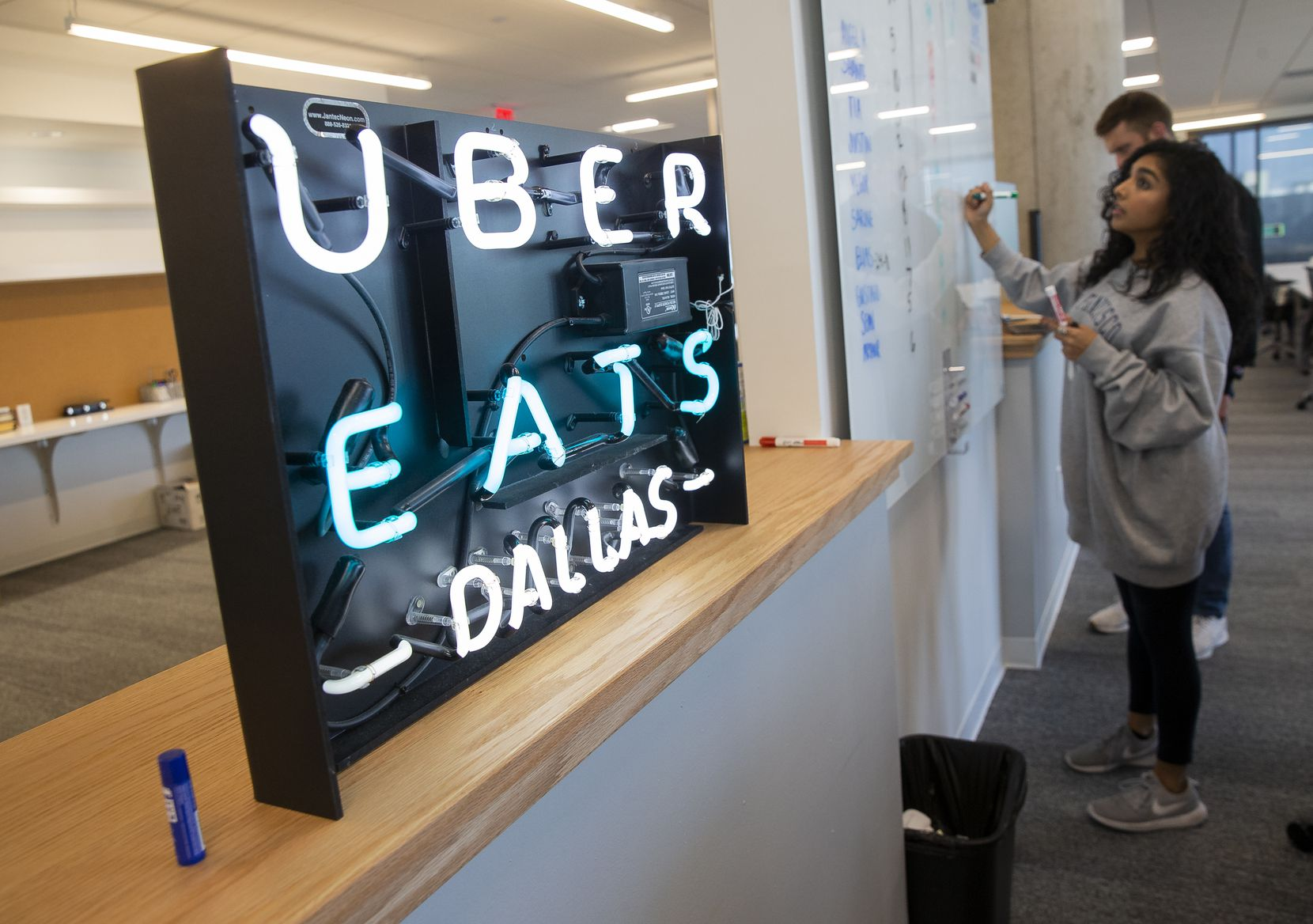 The Uber Eats section at work in the company's Deep Ellum office on Jan. 27, 2020 in Dallas. (Juan Figueroa/ The Dallas Morning News)