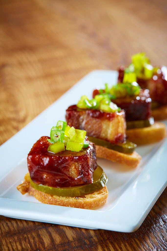 Sugarbacon was named after this dish: pork belly and spicy pickles on a crostini.