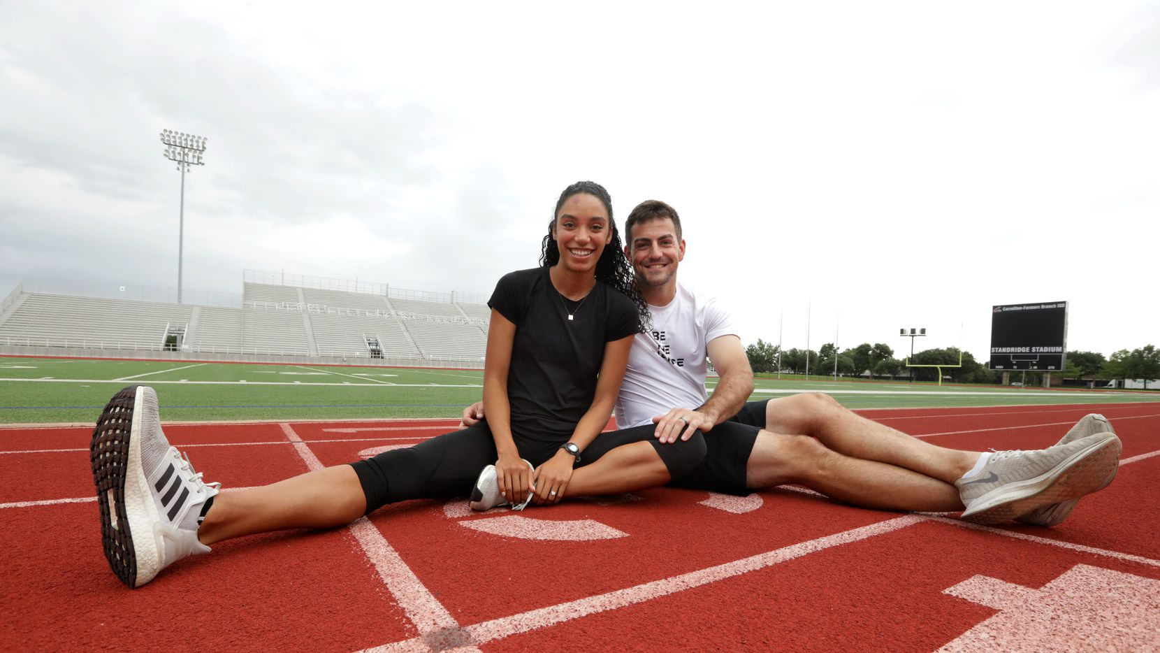 Melissa Gonzalez, left, and David Blough pose for a photograph at Standridge Stadium in Carrollton, TX, on Jul. 2, 2021.