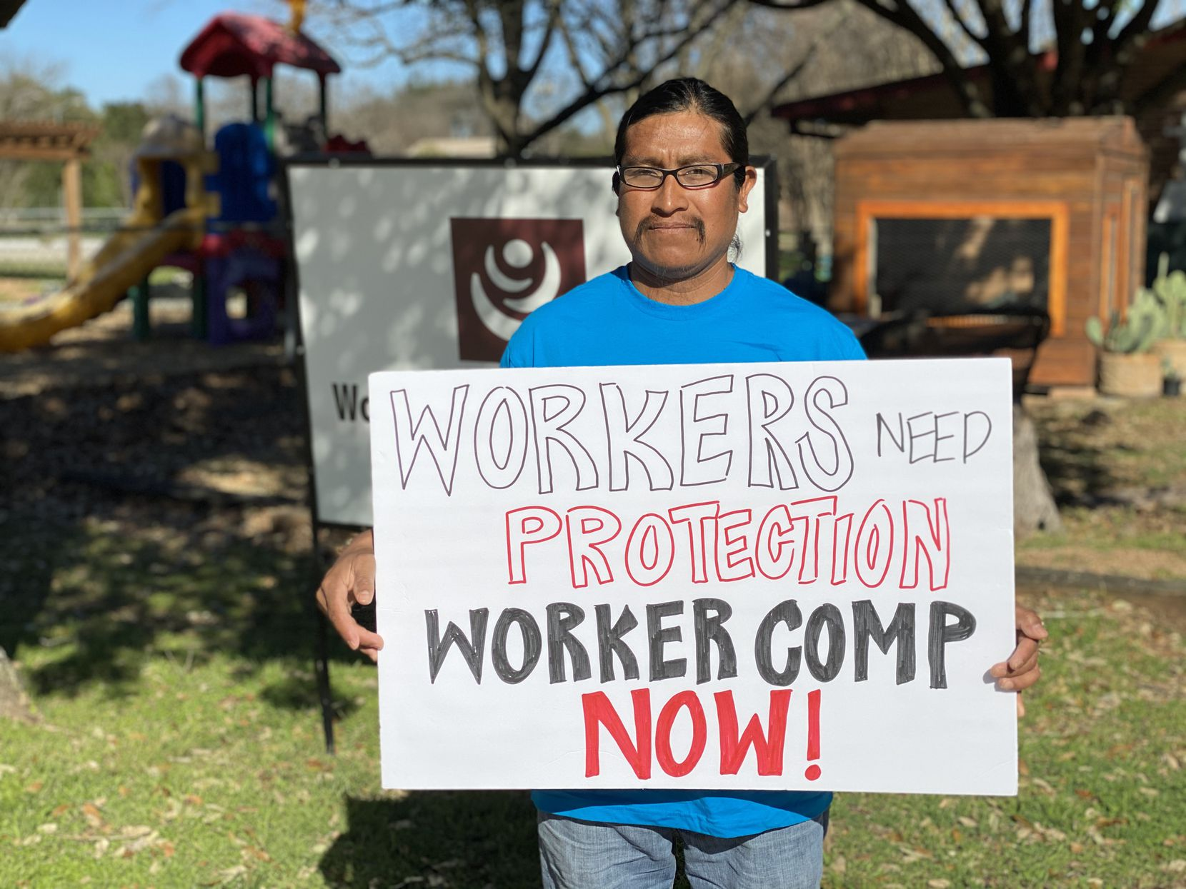 Construction worker Felipe Marco stands outside the Workers Defense Project in Dallas. Marco was injured on the job and sustained six broken ribs and a perforated lung.