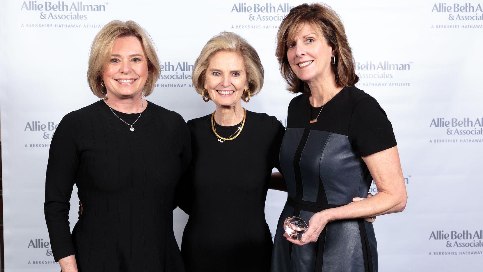 The Pinkston/Harris Team was named Allie Beth Allman & Associates' No. 1 Top Producer Team for 2019. From left, Stephanie Pinkston, president/CEO Allie Beth Allman and Margie Harris.