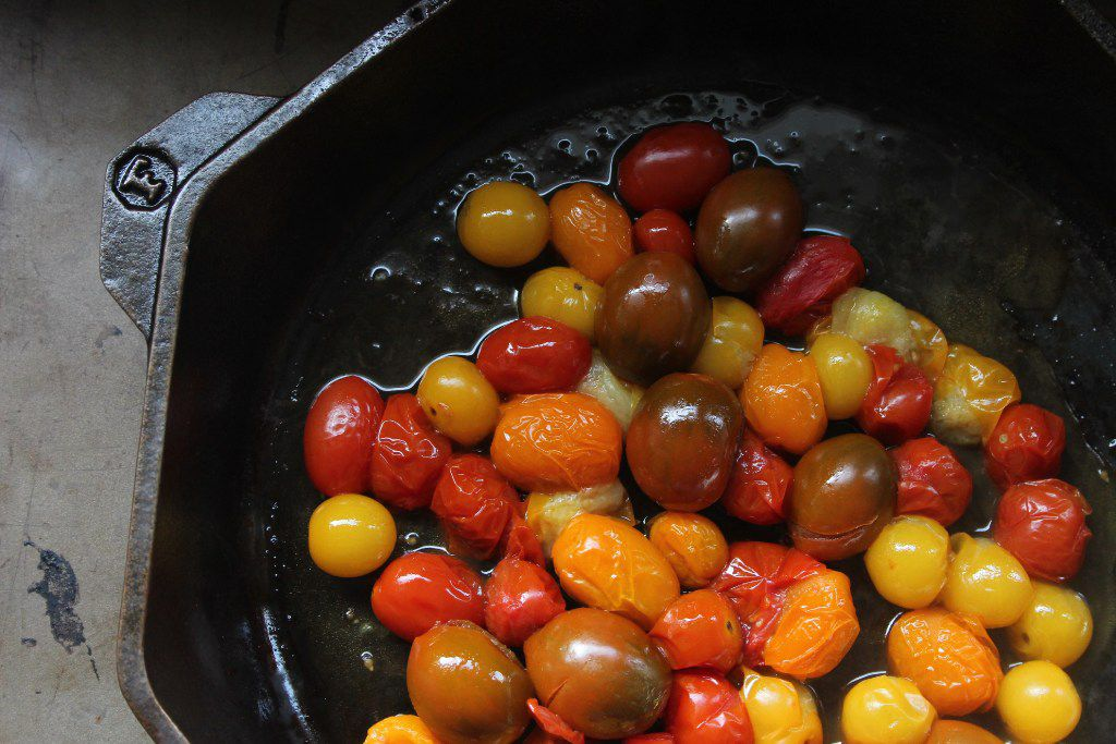 Bite-size tomatoes are best for cast iron.