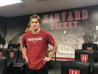 Stars prospect Jack Bar poses for a photo at Harvard University on Oct. 15, 2021.