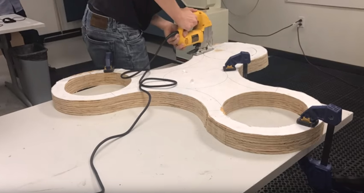 The students used a program called Creo Parametric 3D Modeling Software to help them measure and cut the wood to the proper size for the bearings.