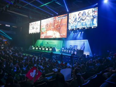 The Dallas Fuel plays the Houston Outlaws in an Overwatch League match in Allen, Texas on Sunday April 28, 2019. The first professional esports league to have city-based teams, the Overwatch League, held the first home games in league history for The Dallas Fuel the weekend of Saturday April 27 and Sunday April 28, 2019 in Allen, Texas.