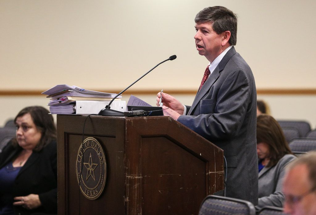 Edwin P. Voss, Jr, an attorney representing the City of Dallas, speak during a meeting of the Board of Adjustment on Wednesday, March 20, 2019 in Dallas. (Ryan Michalesko/The Dallas Morning News)