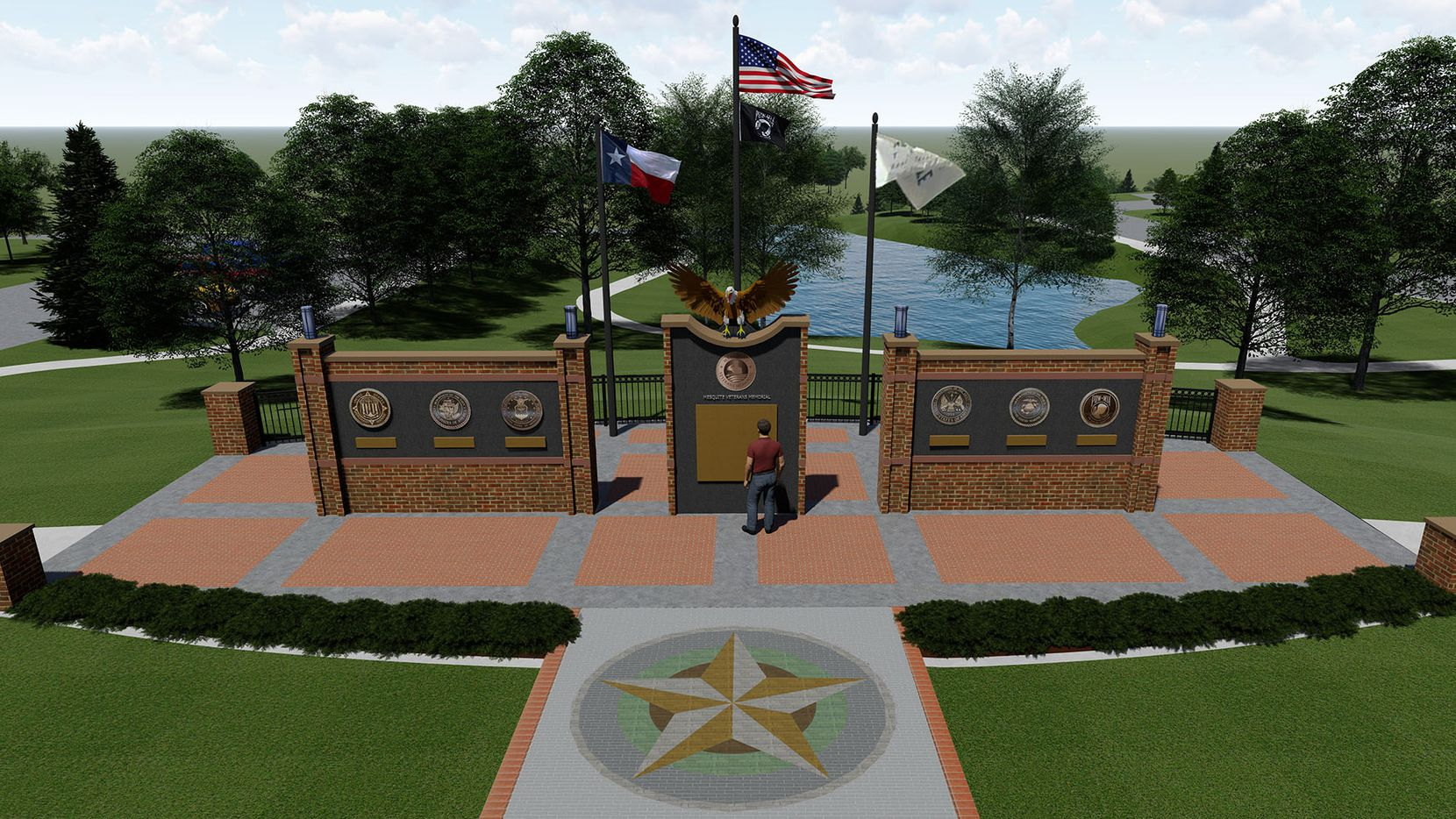 A rendering shows the planned final design for the Mesquite Veterans Memorial.