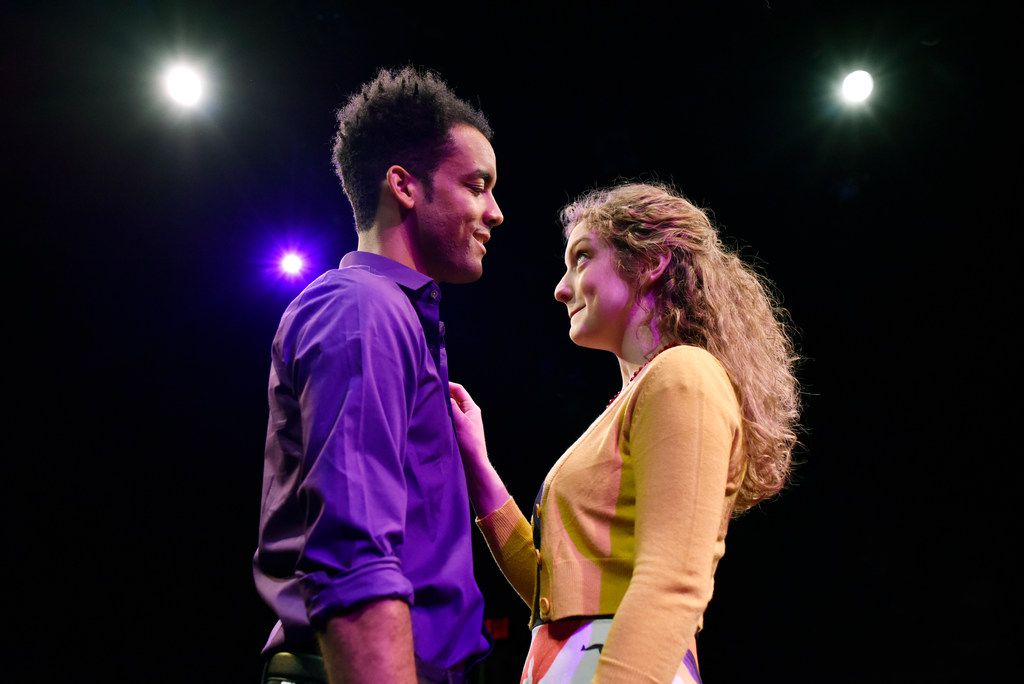 Tom played by Aaron Jay Green (left) and Amber played by Edna Gill perform in Actually  at Theatre Three.
