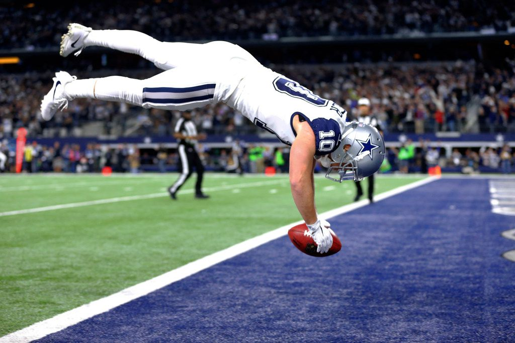 Dallas Cowboys' Ryan Switzer (10) dives into the end zone for a touchdown on a punt return against the Washington Redskins during the first half of an NFL football game Thursday, Nov. 30, 2017, in Arlington, Texas. (Tom Fox/The Dallas Morning News via AP)