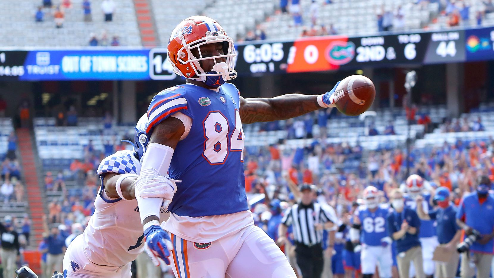 FILE - Florida Gators tight end Kyle Pitts (84) scores a touchdown during an NCAA college football game against Kentucky in Gainesville, Fla., in this Nov. 28, 2020, file photo.