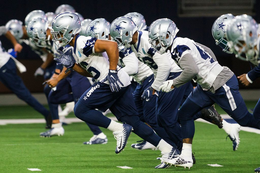 Dallas Cowboys running back Tony Pollard (36) runs with teammates during a team OTA practice at The Star on Wednesday, June 5, 2019, in Frisco. (Smiley N. Pool/The Dallas Morning News)