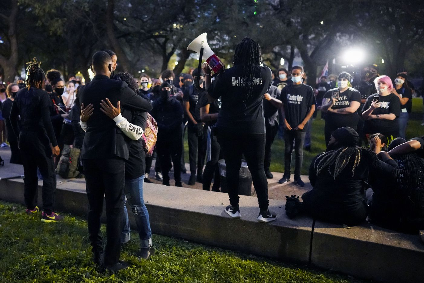 Demonstrators gather during a rally at Dallas City Hall after a Kentucky grand jury brought no charges against Louisville police for the killing of Breonna Taylor on Wednesday, Sept. 23, 2020.