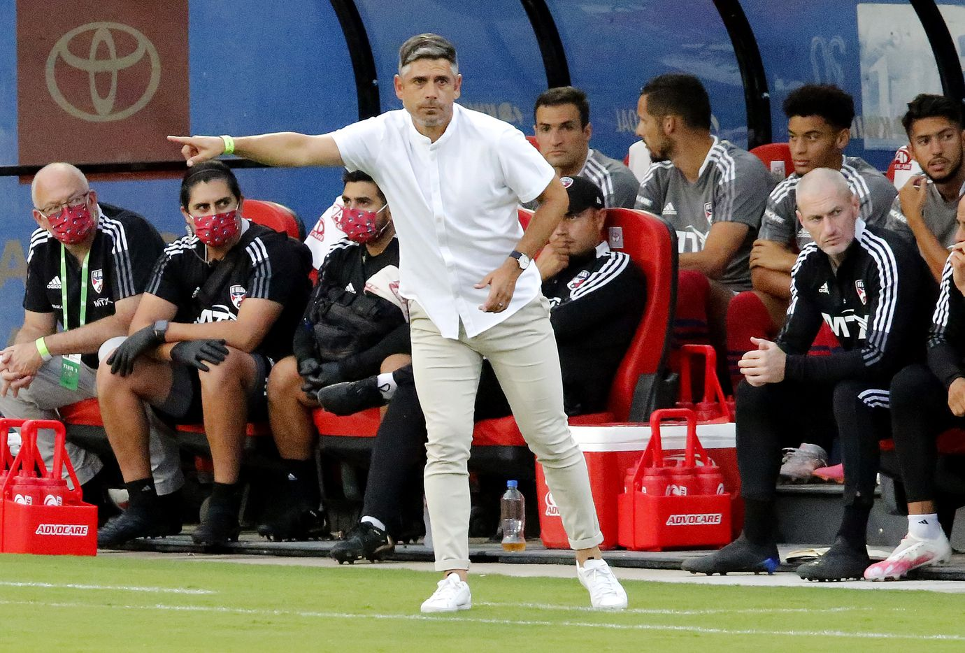 FC Dallas head coach Luchi Gonzalez points direction to his team during the first half as FC Dallas hosted the Seattle Sounders at Toyota Stadium in Frisco on Wednesday night, August 18, 2021. (Stewart F. House/Special Contributor)