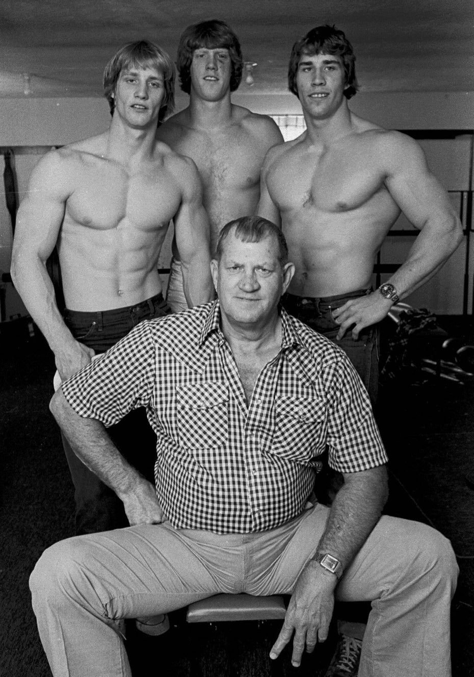 The Von Erich wrestling family in 1980: Jack Adkisson, foreground, who wrestled under the name of Fritz Von Erich, with his sons Kevin, left, David, center, and Kerry, right.  Kerry Adkisson was later found in rural Denton County, the victim of an apparent self-inflicted gunshot wound, one day after he was accused of cocaine possession.