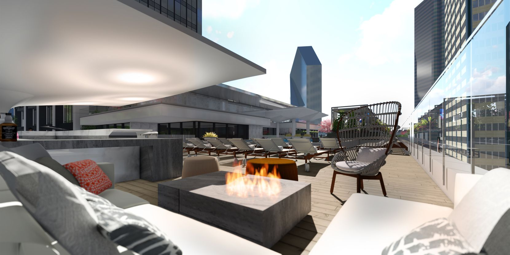A fire pit on the roof deck a The Drever tower.