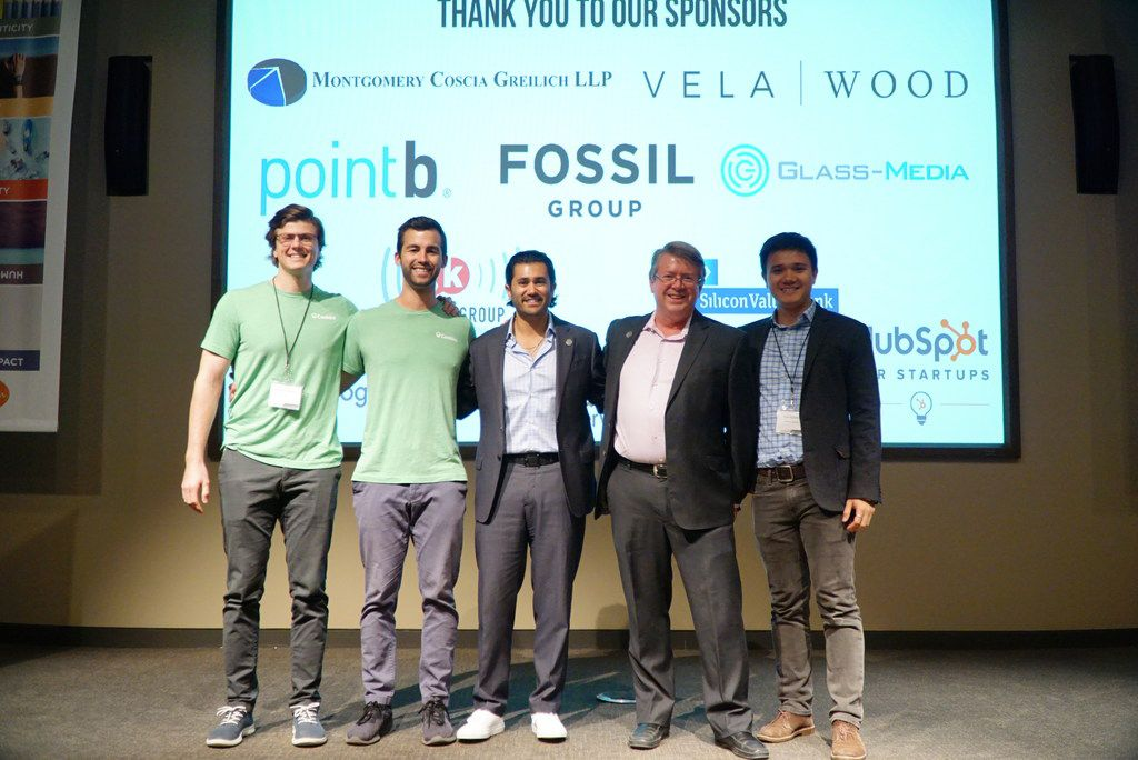 Dallas-based Cooklist won the Tech Trends in Retail pitch competition hosted by RevTech Ventures on March 28. Left to right, Brandon Warman and Daniel Vitiello, co-founders of Cooklist, Jonathan Fine, director of business development at RevTech Ventures, David Matthews, managing director at RevTech and Loc Nguyen, investment analyst at RevTech.