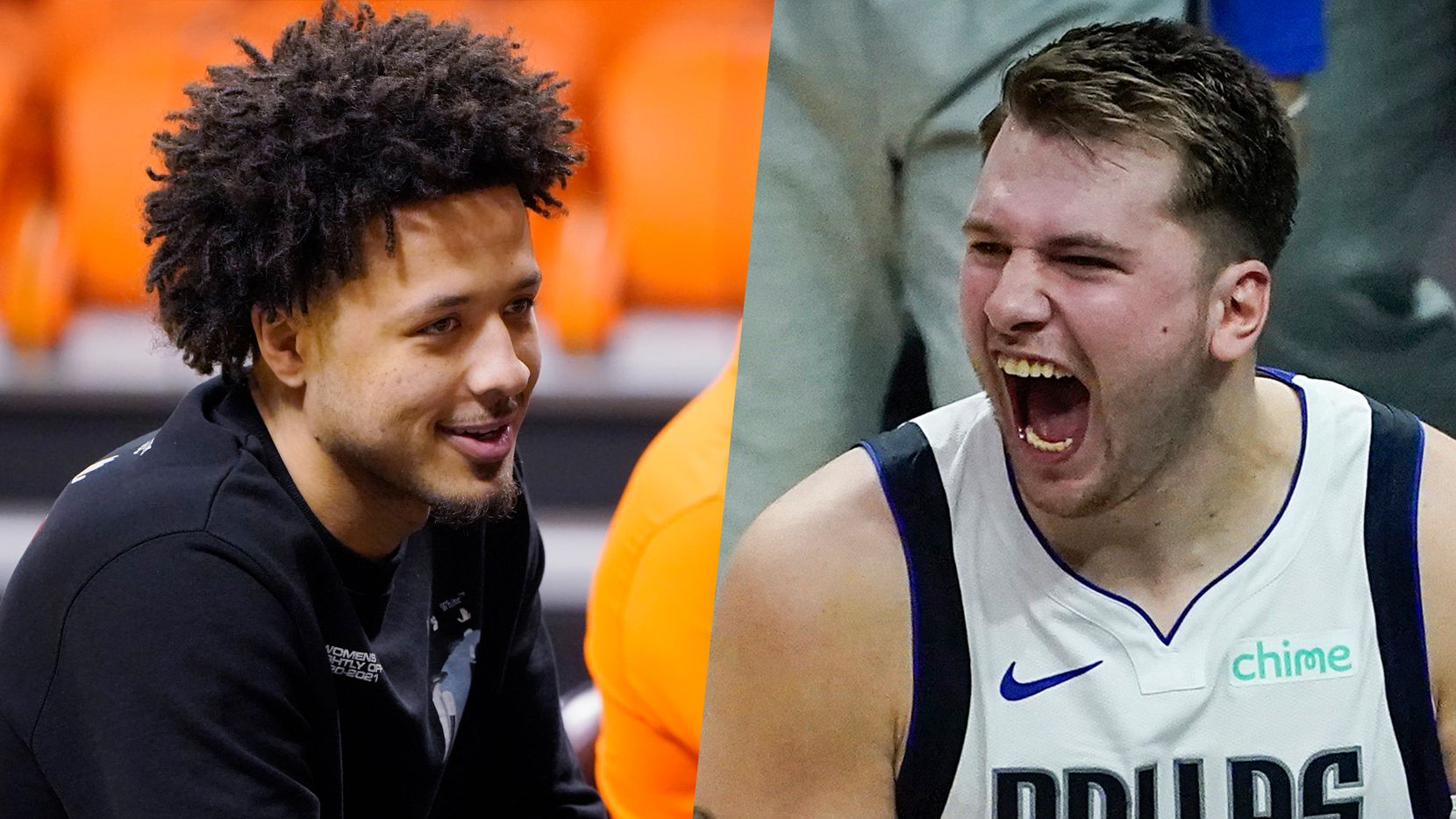 Cade Cunningham (left) and Luka Doncic.