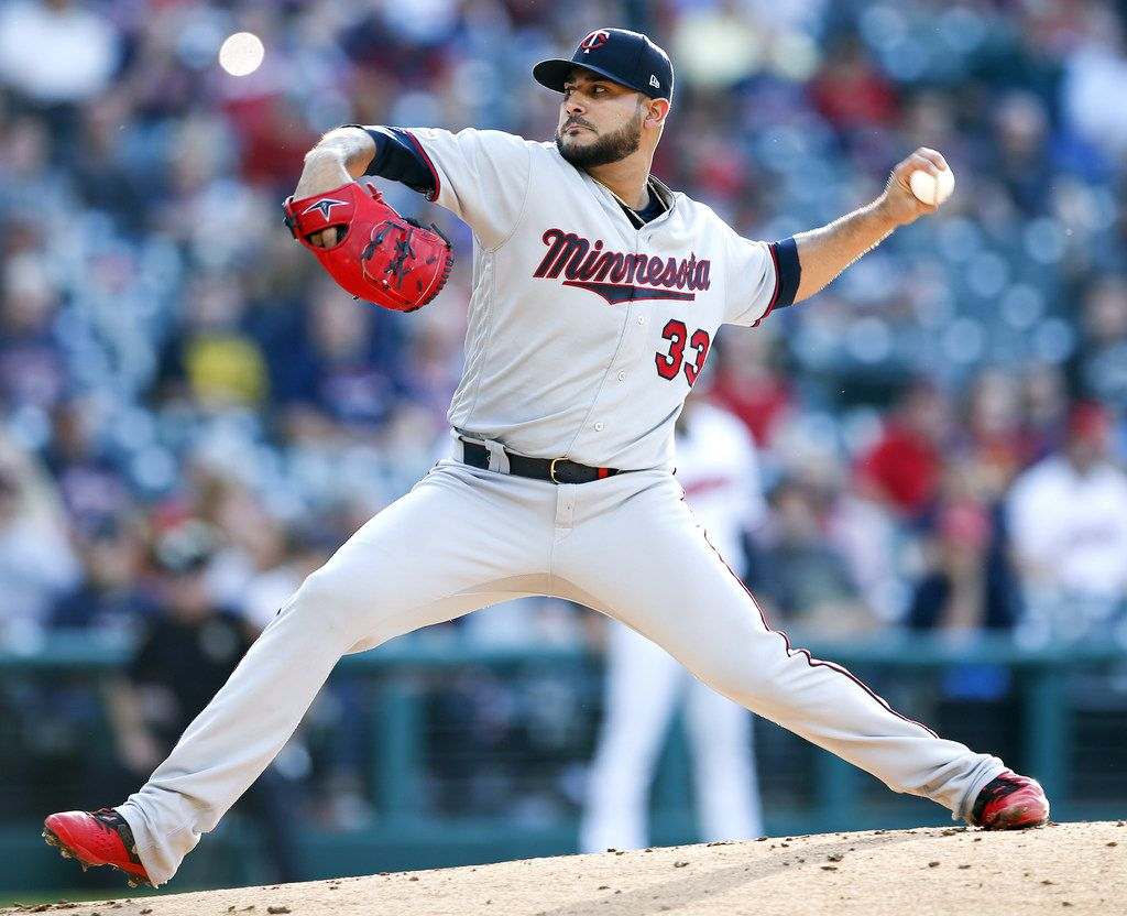 CLEVELAND, OH - JUNE 05: Starting pitcher Martin Perez #33 of the Minnesota Twins pitches against the Cleveland Indians during the first inning at Progressive Field on June 05, 2019 in Cleveland, Ohio. (Photo by Ron Schwane/Getty Images)