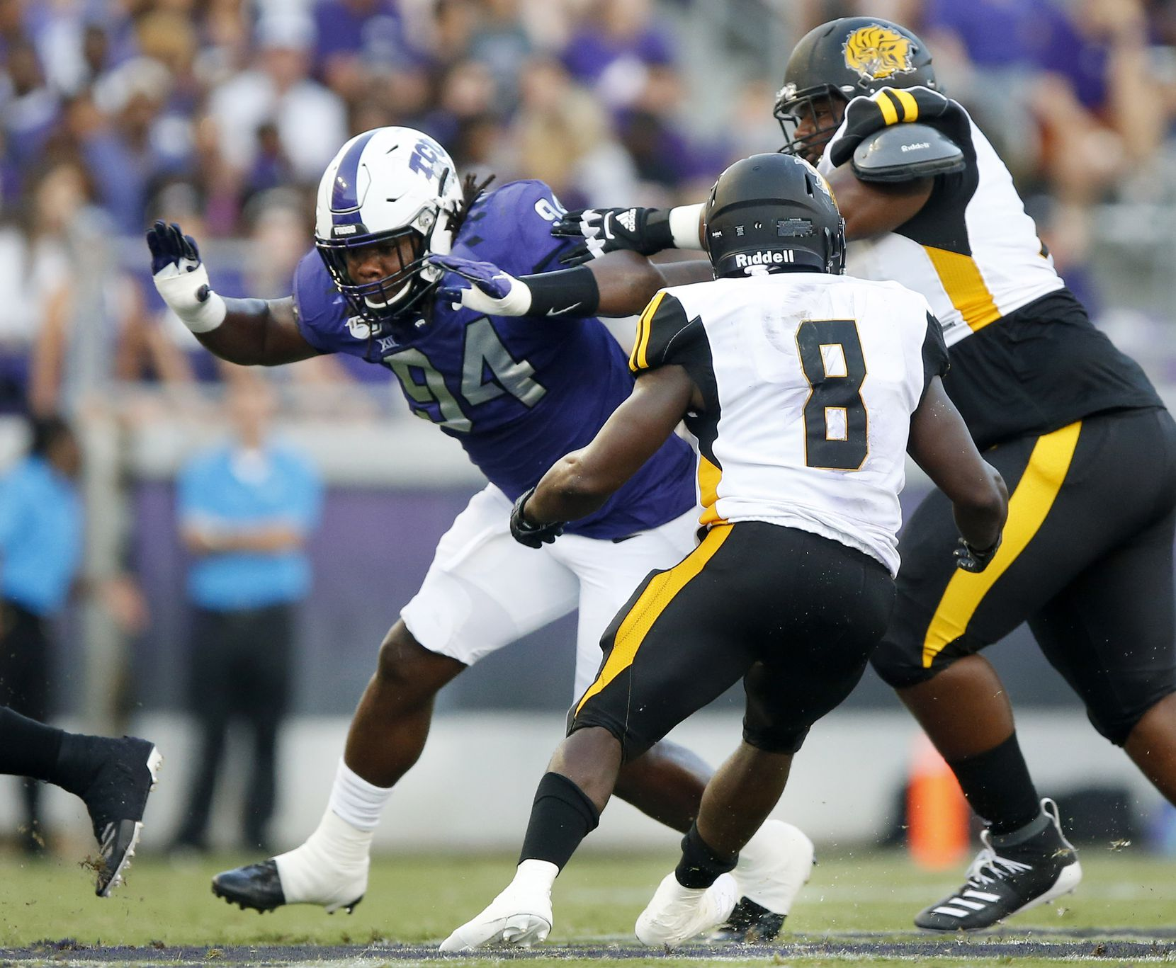 TCU Horned Frogs defensive tackle Corey Bethley (94) pass rushes the Arkansas-Pine Bluff Golden Lions defense during the first quarter at Amon G. Carter Stadium in Fort Worth Texas, Saturday, August 31, 2019.