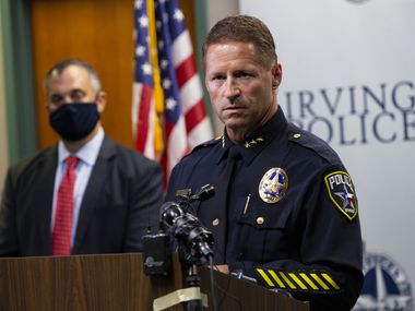 Irving police Chief Jeff Spivey discusses the capture of Yaser Abdel Said at a press conference with the FBI on Wednesday.