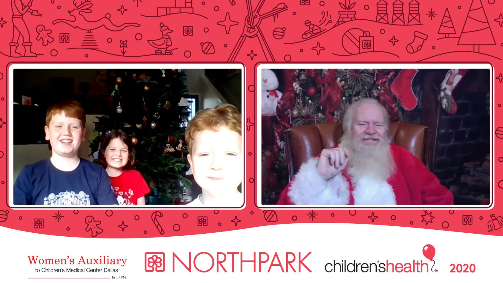 Carl Anderson portrayed Santa online in 2020 due to COVID precautions. Each family received a photo and video of the visit, and proceeds went to Children's Health. In this photo Anderson visits with Benjamin, Ruby and Samuel Philyaw.