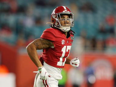 Alabama wide receiver Jaylen Waddle (17) is pictured during the first quarter of the CFP National Championship game against Ohio State at Hard Rock Stadium on Jan. 11, 2021, in Miami Gardens, Fla.