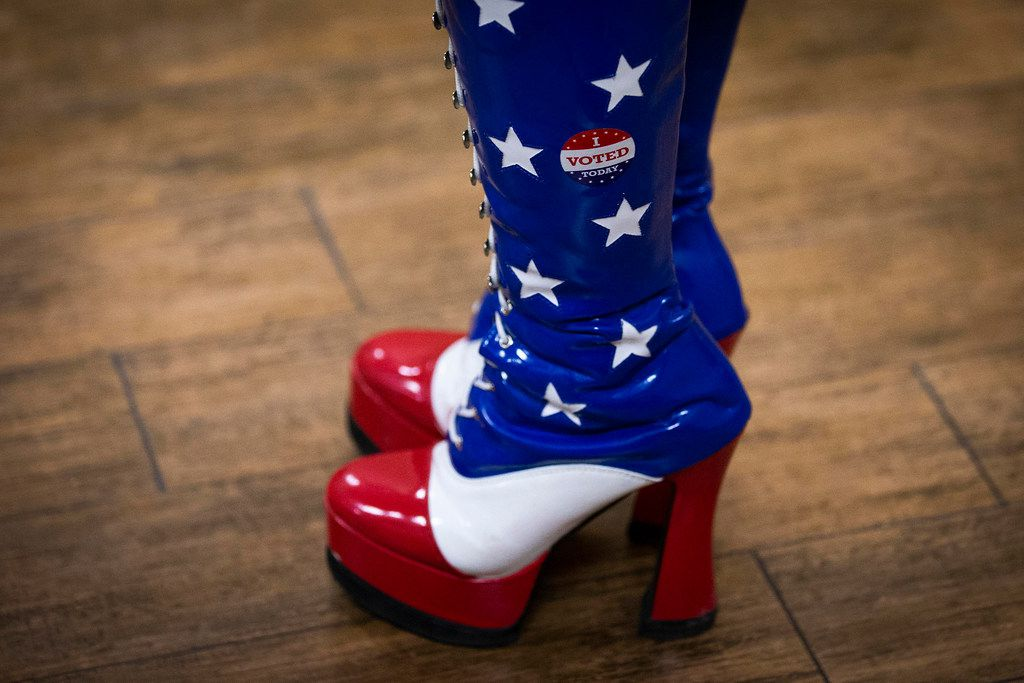 """Amy Hedtke wears red, white, and blue boots with a """"I Voted"""" sticker outside a meeting of the Tarrant County Republican Party executive committee at Faith Creek Church Thursday, Jan. 10, 2019, in Richland Hills."""