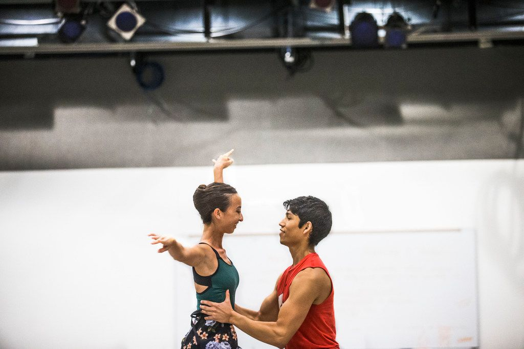 Amanda Fairweather of Texas Ballet Theater is held up by Bruce Wood Dance's Adrián Aguirre during an AKA:ballet rehearsal.