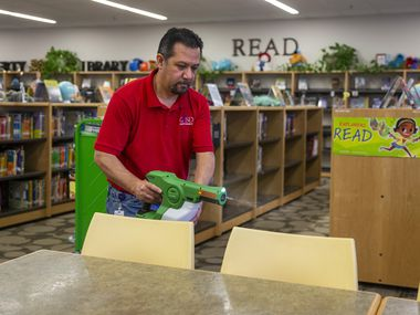 Raúl Rodríguez disinfected Daugherty Elementary in Garland in February to prevent the flu from spreading. A similar strategy was applied for the coronavirus before it forced schools to close.