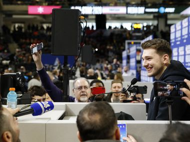 Team LeBron's Dallas Mavericks forward Luka Doncic (2) smiles as he answers questions from the media during the media availability for the NBA All-Star 2020 team during the NBA All-Star 2020 at Wintrust Arena in Chicago on Saturday, February 15, 2020.
