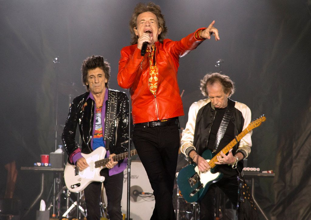"""Ronnie Wood, from left, Mick Jagger and Keith Richards of The Rolling Stones perform during their """"No Filter Tour"""" at Lincoln Financial Field on Tuesday, July 23, 2019, in Philadelphia."""