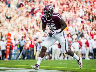 FILE - Texas A&M tight end Jalen Wydermyer (85) scores a touchdown during the third quarter of a game against Alabama on Saturday, Oct. 12, 2019, at Kyle Field in College Station.