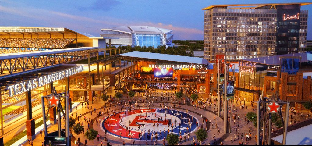 An artist's rendering shows Texas Live! (center) alongside the new Ballpark (left) and AT&T Stadium (center, above) as it is on display at the Globe Life Park in Arlington, Tuesday, September 20, 2016. (illustrations by The Cordish Companies)