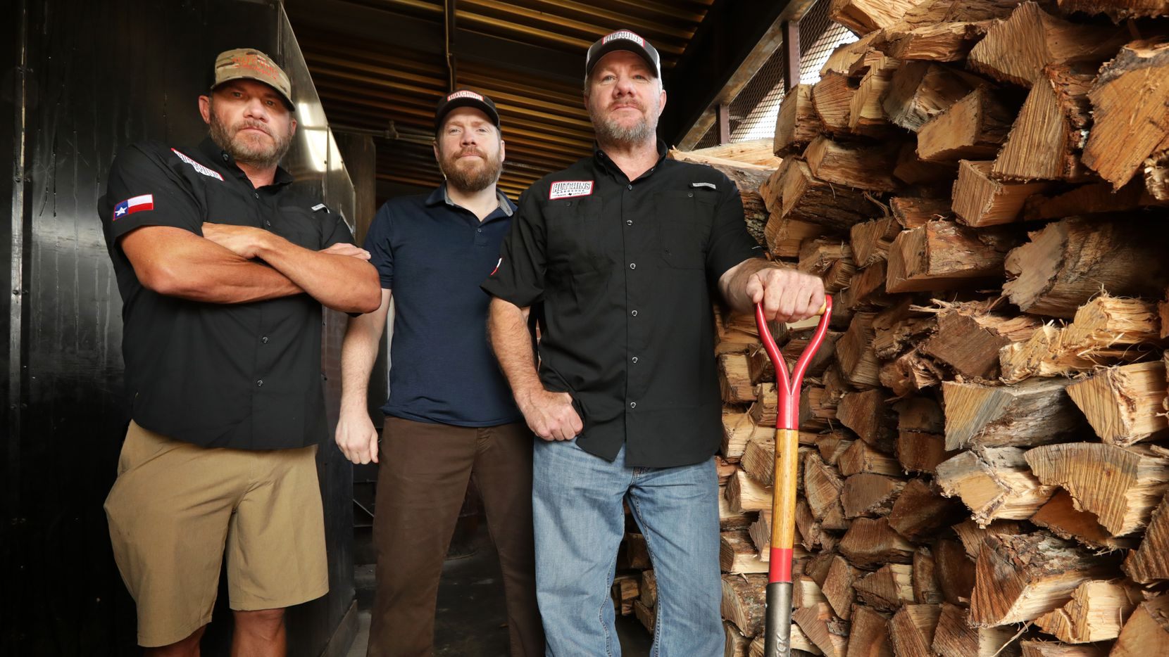 Wes Hutchins (from left), Tim Hutchins and Trey Hutchins are shown at the family's McKinney barbecue restaurant. (Jason Janik/Special Contributor)