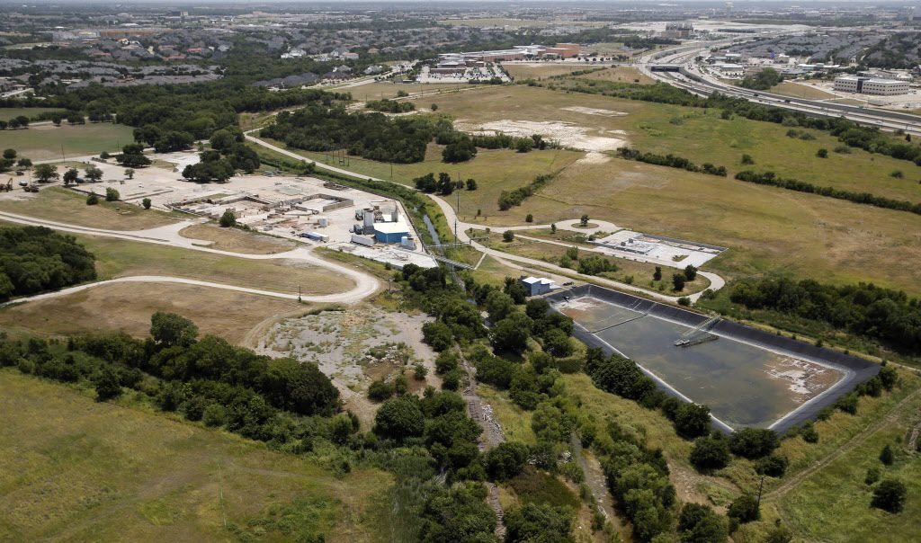 This July 2018 aerial photo, looking toward the southwest and the Dallas North Tollway, shows some of the cleanup efforts on the Exide plant site.