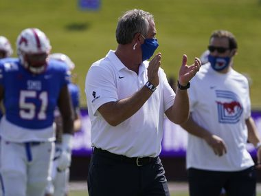 SMU head coach Sonny Dykes watches his team warm up before an NCAA football game against Memphis at Ford Stadium on Saturday, Oct. 3, 2020, in Dallas. (Smiley N. Pool/The Dallas Morning News)