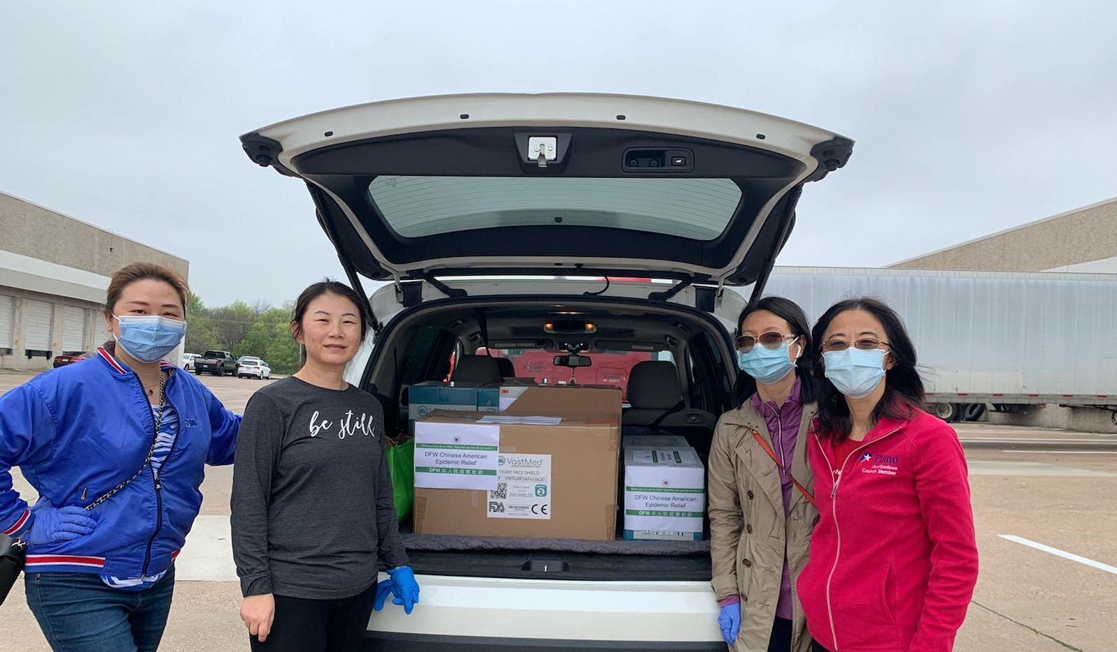 Plano City Council member Lily Bao (right) and volunteers with DFW Chinese American Epidemic Relief distributed personal protective equipment for medical professionals at Baylor Scott & White Medical Center in Plano on Monday, March 23, 2020.