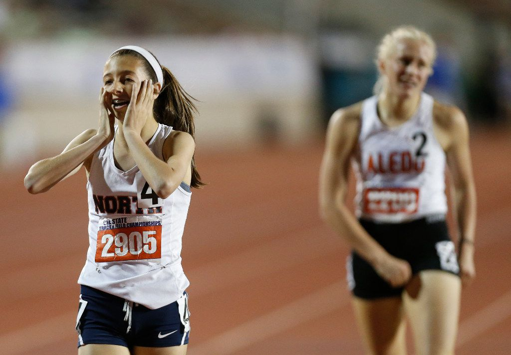 McKinney North's London Culbreath (2905) finishes ahead of Aledo's Gracie Morris (2208) in the class 5A girls 1600-meter run during the UIL state track and field meet in Austin , Friday, May 12, 2017. (Stephen Spillman/Special Contributor)