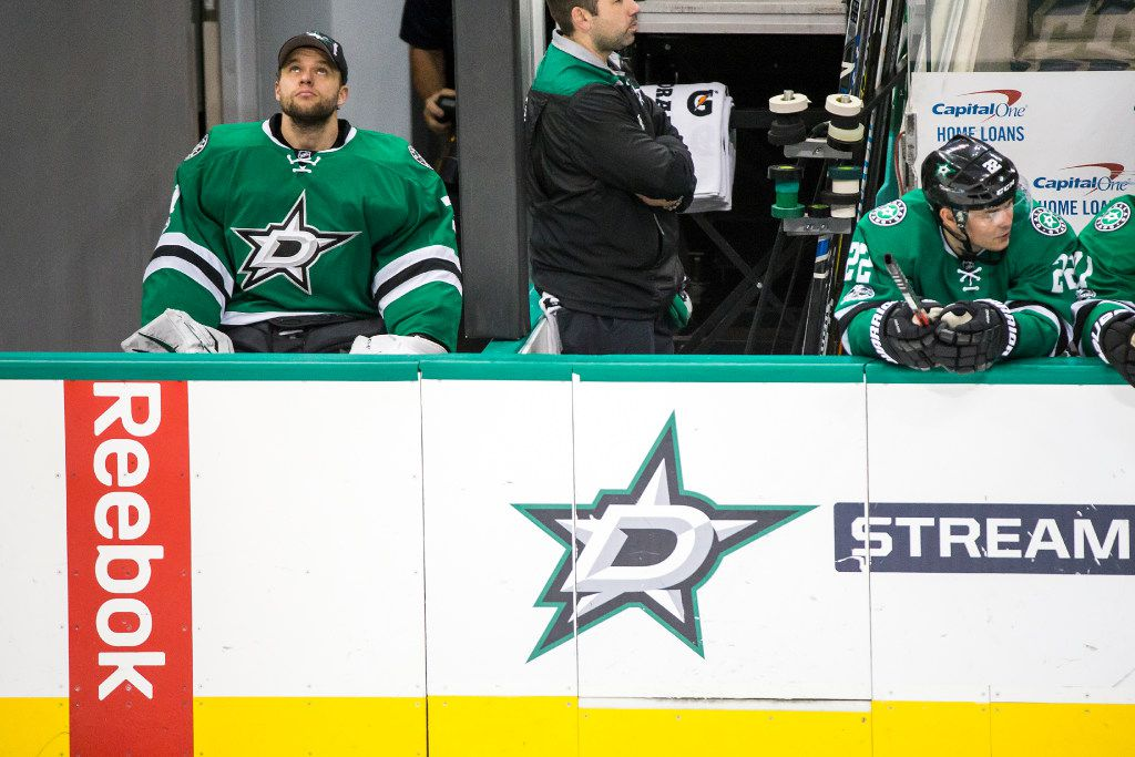 Dallas Stars goalie Antti Niemi watches from the bench during the third period of an NHL hockey game against the Minnesota Wild at the American Airlines Center on Saturday, Jan. 14, 2017, in Dallas. The Wild won the game 5-4. (Smiley N. Pool/The Dallas Morning News)