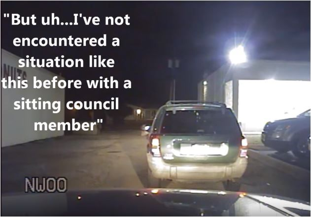 Part of the captioned video released by Haltom City firefighters' PAC involving a council member.