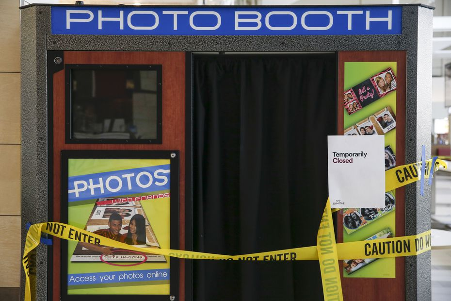 Social distancing rules make a photo booth off limits at Grapevine Mills shopping mall.