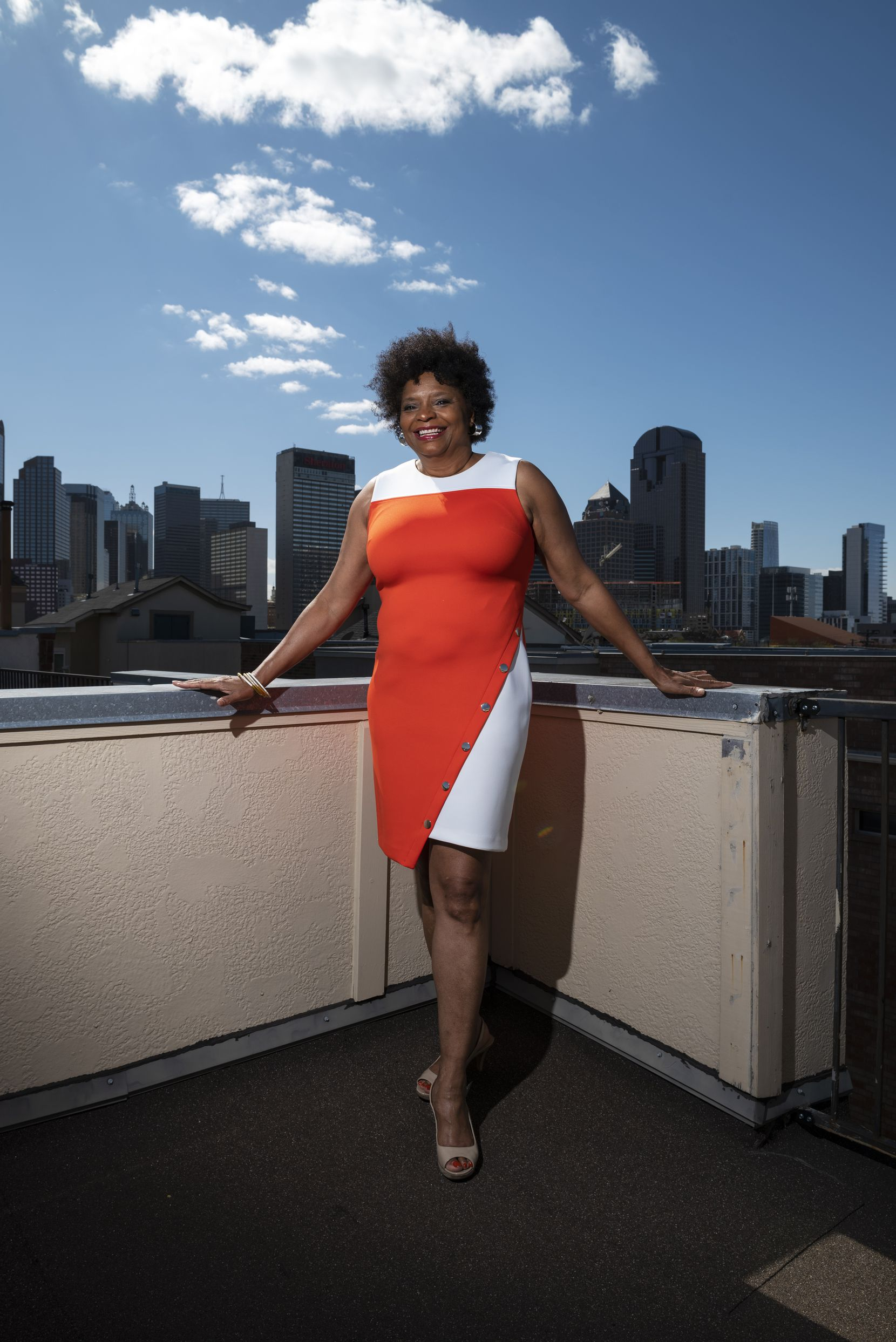Author and literary leader Sanderia Faye outside her home in Dallas.